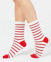 Charter Club Striped Crew Socks Ivory Red One Size - NWT - $6.62