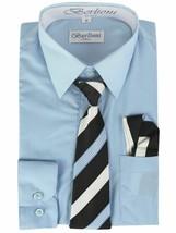 Berlioni Italy Kids Boys Long Sleeve Light Blue Dress Shirt Set With Tie & Hanky