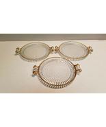 VINTAGE SET OF 3 HOBNAIL GLASS PLATTER PLATES w/HANDLES GOLD APPLY TRIM - $29.65