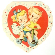 Vintage Little Girl and Boy on Bike Bicycle Doubl Glo Valentines Card P ... - $19.95