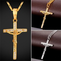 Crucifix Cross Necklace Pendant 18K Real Gold Plated Jewelry with Cubic ... - $13.50