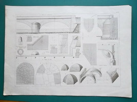 1864 ENGINEERING PRINT - Stone Arched Bridge Vault Wall Material Qauntities - $22.50