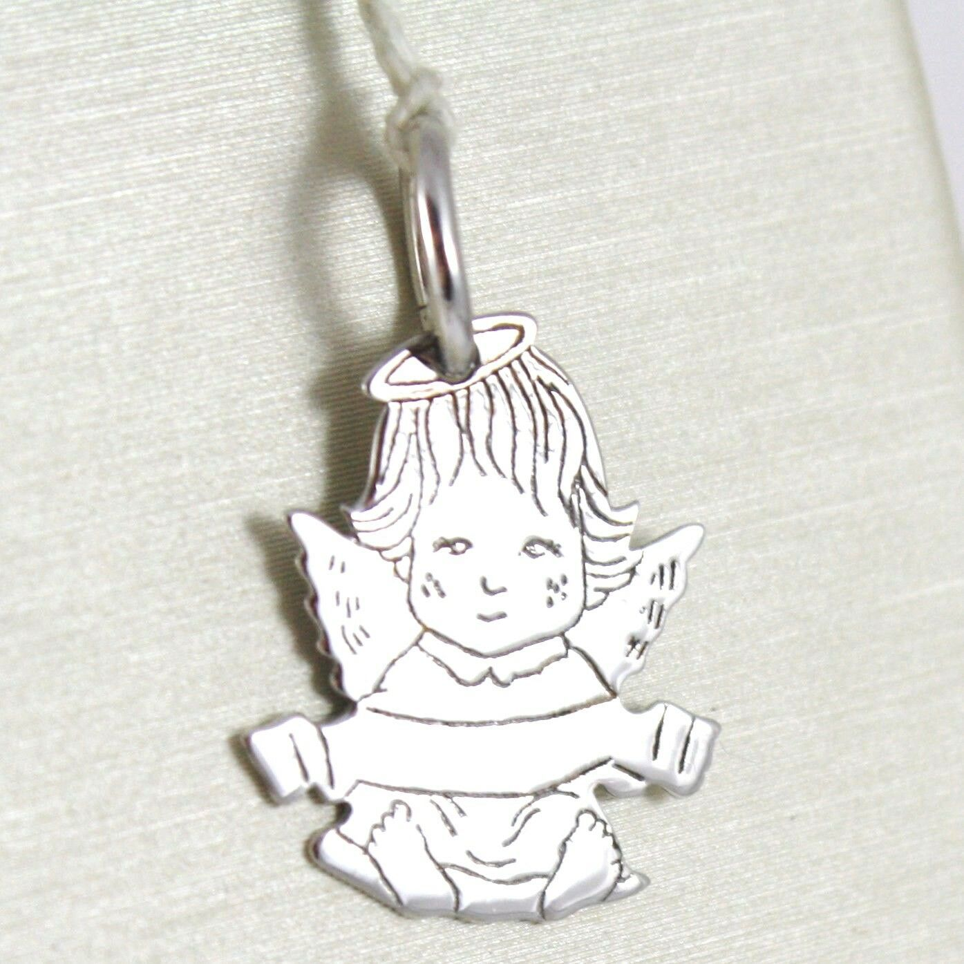 SOLID 18K WHITE GOLD PENDANT MEDAL, STYLIZED GUARDIAN ANGEL, ENGRAVED NAME