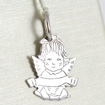 SOLID 18K WHITE GOLD PENDANT MEDAL, STYLIZED GUARDIAN ANGEL, ENGRAVED NAME image 1
