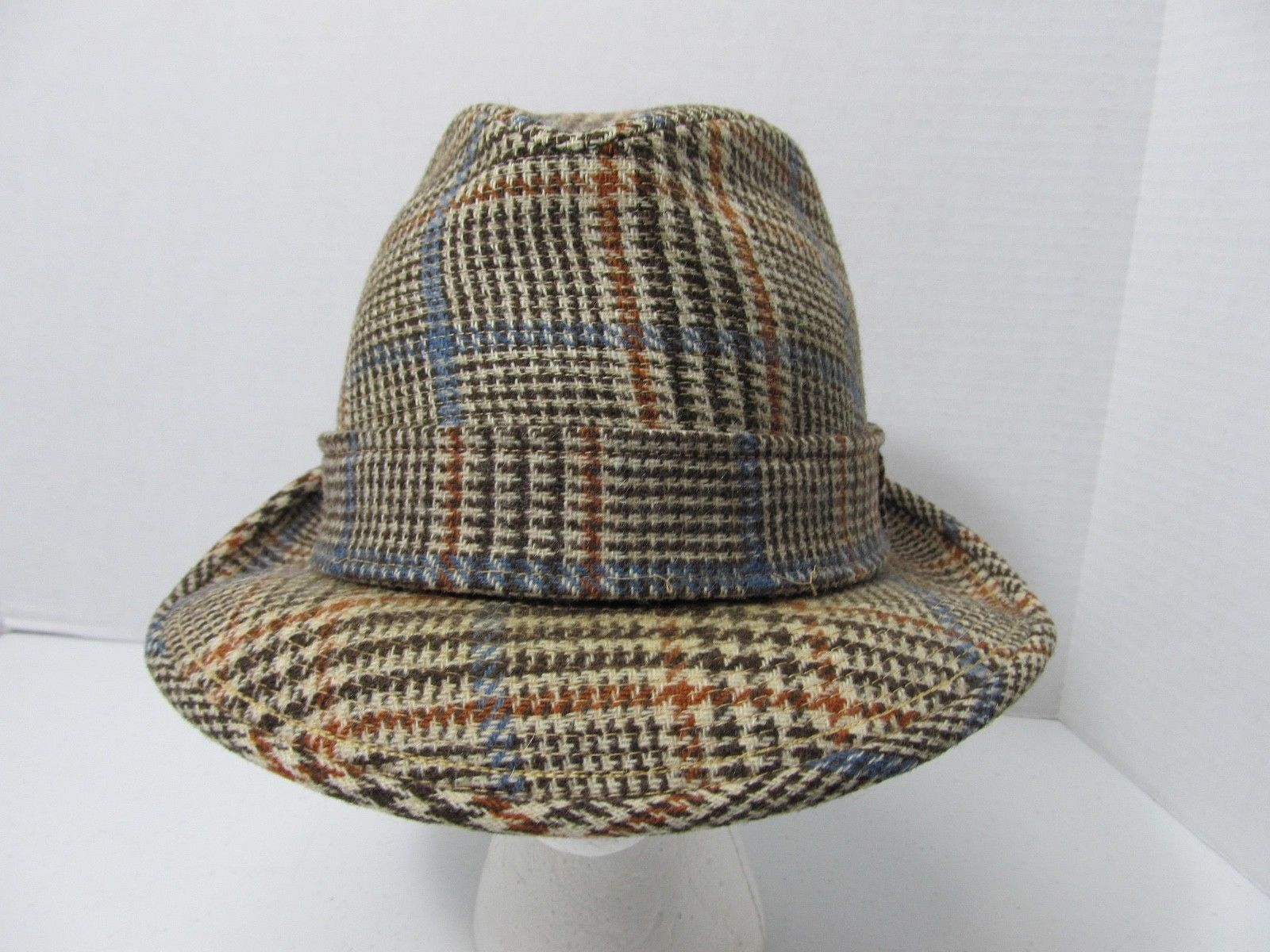VINTAGE RESISTOL Self Conforming Tweed Wool Fedora Hat 7 1/4 Brown Houndstooth