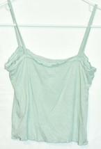 PS Basics Pacsun Women's Seafoam Green Ruffle Ribbed Knit Crop Tank Top Size S image 2