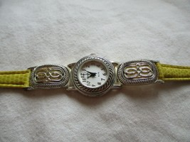 Geneva Elite Wristwatch Round Shaped Silver Toned Face Neon Green Buckle... - $29.00