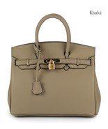 35cm Pebbled Italian Leather Lock and Key Celebrity Style Handbag Satche... - $159.95