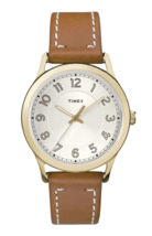 TIMEX Women's Gold Tone New England Leather Strap Wrist Watch CLASSIC TW2R23000 image 2