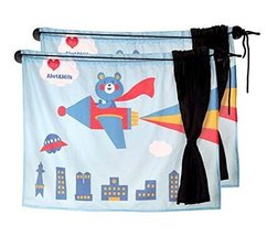 PANDA SUPERSTORE Set of 2 Summer Car Curtains Sunshades Sucker Type Double Sunsh