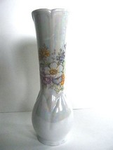 "Brinn's Bud Vase Opalescent Finish With Floral Design 7"" - $6.88"