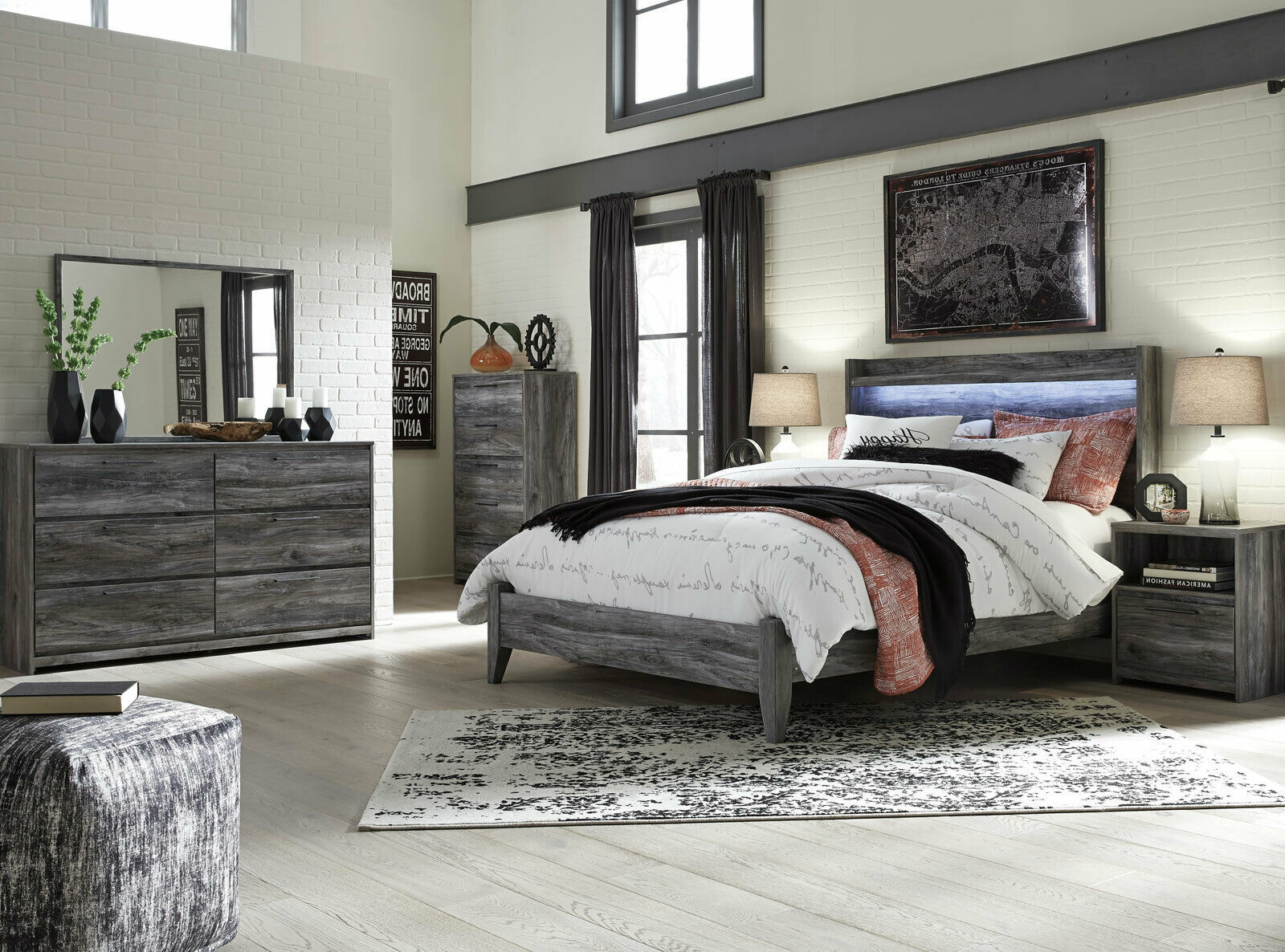 new modern smokey gray bedroom furniture - 5pc set w/ queen led lighted bed ia20 - bedroom sets