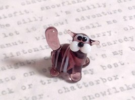 Micro miniature small hand blown glass tiny violet  striped cat USA made