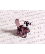 Micro miniature small hand blown glass tiny violet  striped cat USA made - $39.99