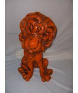 Vintage 1960's Orange Chalkware Retro Lion Sad Face Curly Mane NICE - $44.55