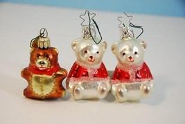 Christopher Radko Christmas Bears Hand Blown Glass Ornaments Lot of 3 - $14.84
