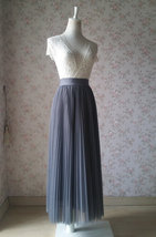 Gray Pleated Long Tulle Skirt Plus Size Pleated Tulle Tutu Skirt High Waisted image 7
