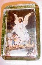 VINTAGE THICK GLASS PAPERWEIGHT AFRICAN AMERICAN GUARDIAN ANGEL & CHILDREN - $25.73