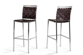 Shasta - Modern Brown Eco-Leather Bar Stool (Set of 2) - $528.00