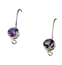 bonnie Amethyst Silver Purple Earring gemstones L-1.5in US - $7.91