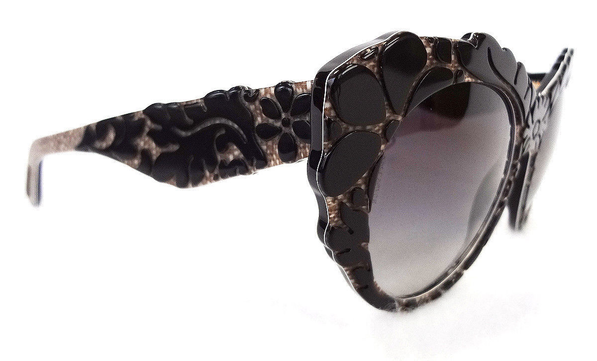 DOLCE & GABBANA Women's Sunglasses DG4267 Black Flower Texture MADE IN ITALY-New