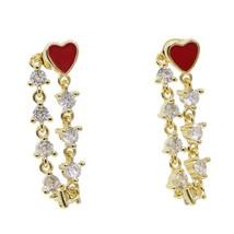 lover girlfriend gift Romantic cz link chain Red enamel heart long chain... - $25.92