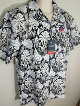Chaps Classic Fit Leaf Print Performance Button Down Camp Shirt Black L XL NWT - $21.99