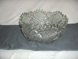 Vintage Large Cut Pressed Glass Bowl Sawtooth Edge Hobstars Button Diamond - $94.05