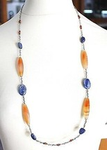 SILVER 925 NECKLACE, AGATE ORANGE, KYANITE BLUE, AMBER, LONG 80 CM, CHAIN ROLO' image 1