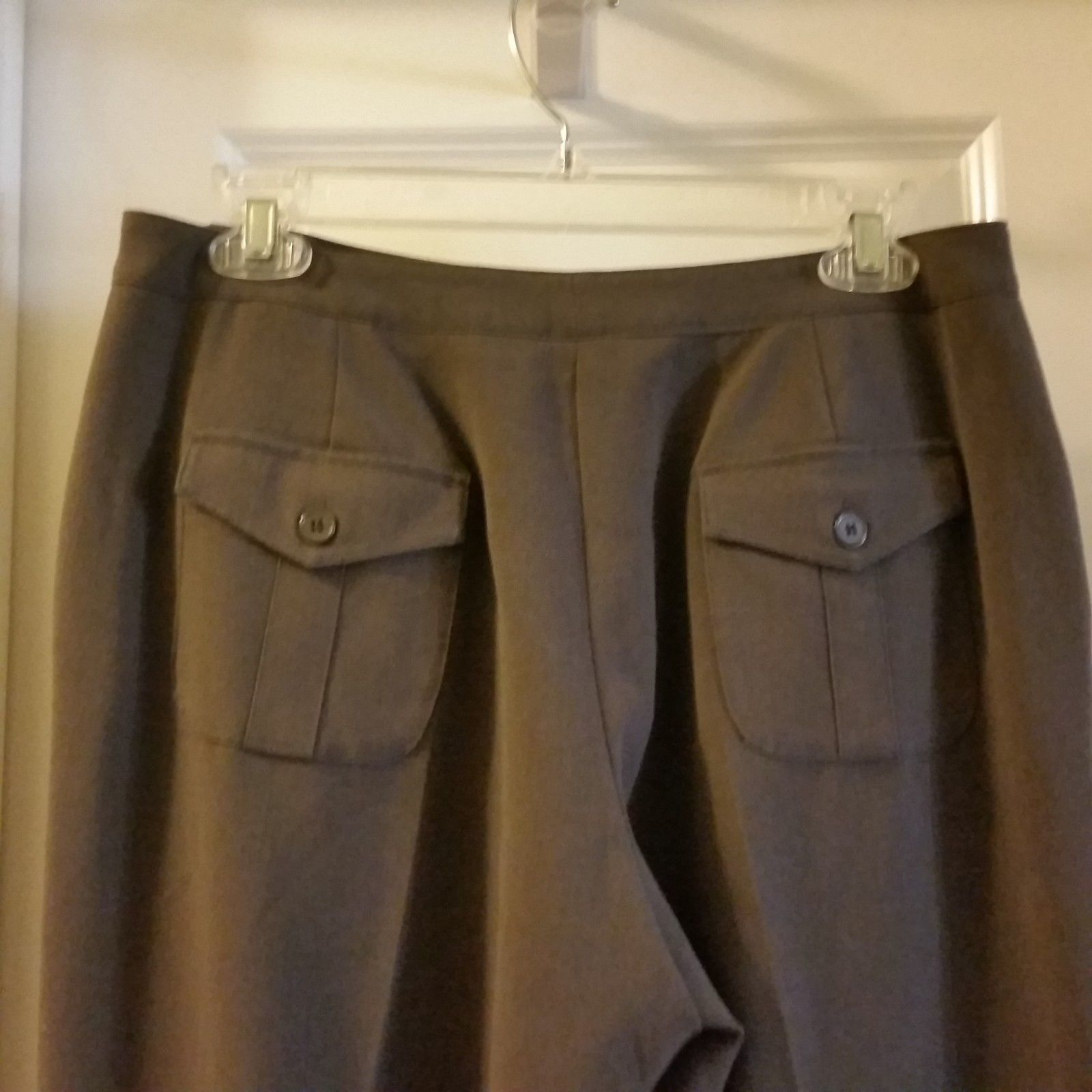 Larry Levine Womens Petites Brown Stretch Dress Pants Sz 8P