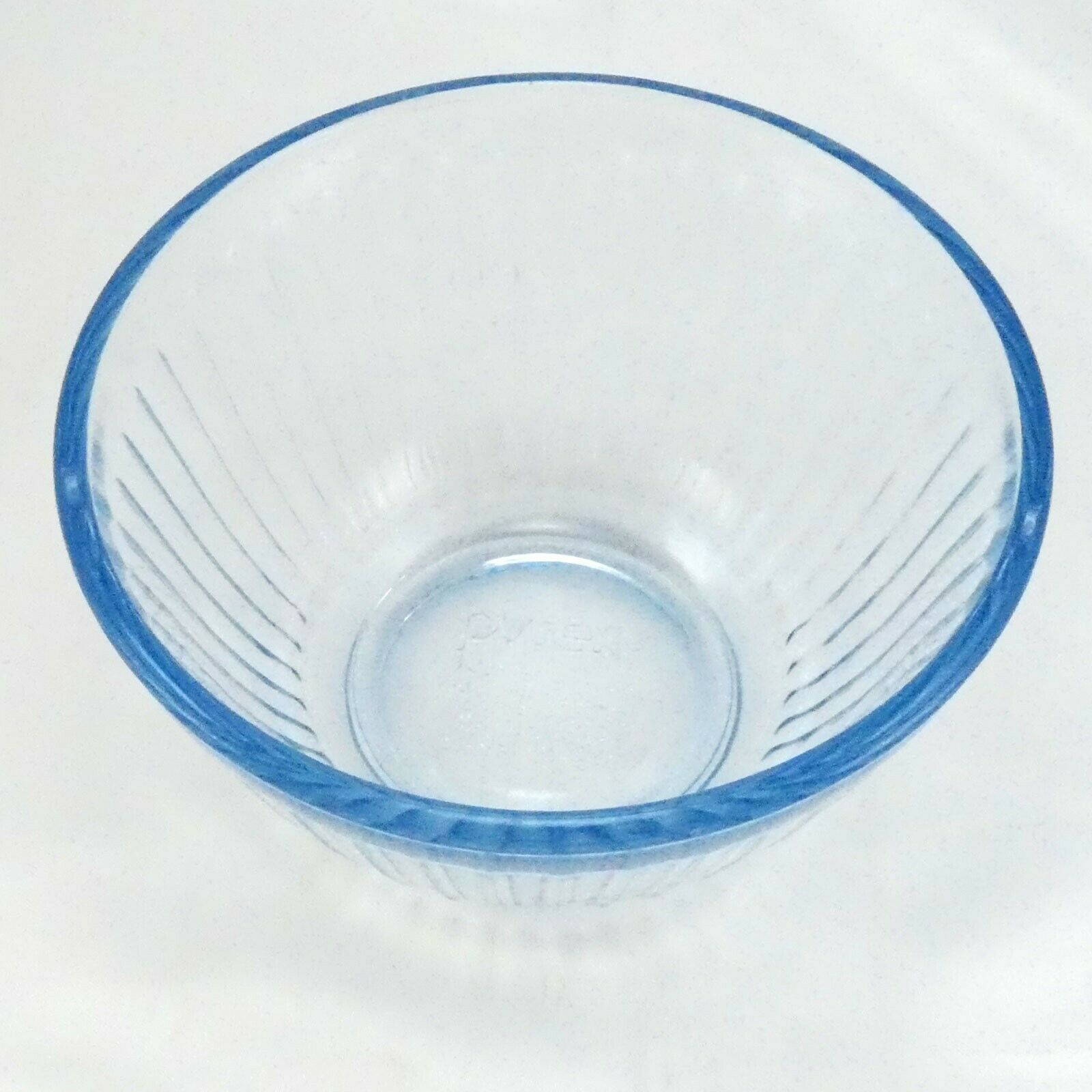 Pyrex 7401-S Ribbed Side Blue Aqua Tint Glass Serving Bowl 3 Cup image 2