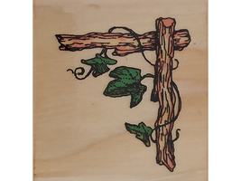 Uptown Rubber Stamps Twig Corner Wood Mounted Rubber Stamp #D13070 image 1