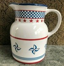 Princess House Exclusive Pitcher Country Fair Red White Blue 64oz Pinwheels Star - $37.40