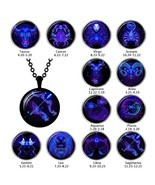 Hot Sale Fashion 12 Zodiac Sign Glass Cabochon Pendant Necklace Constell... - £6.03 GBP