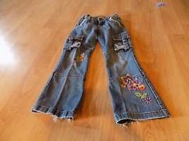 Size 6X-7 The Children's Place Cargo Boot Cut Denim Blue Jeans Floral Flowers  - $15.00