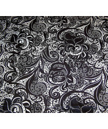 Black and White Floral Lace Print Poly Twill Lycra Stretch Fabric 1 Yard... - $36.00