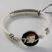 18K ROSE GOLD 925 SILVER WHITE SILICON WITH PIRATE ZANCAN BRACELET MADE IN ITALY image 1