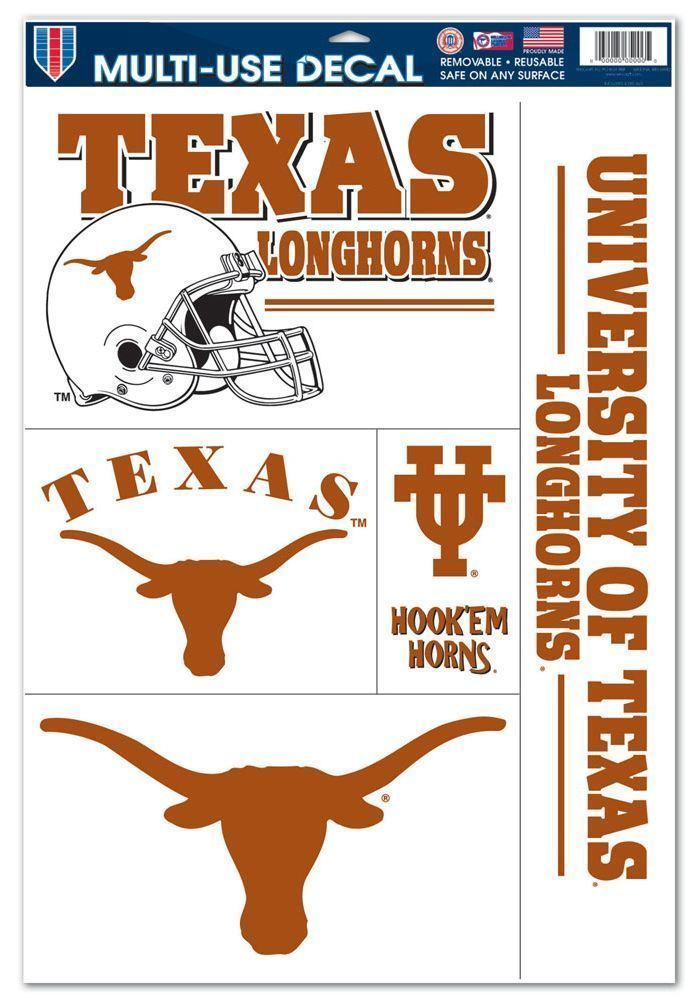 "TEXAS LONGHORNS ULTRA FILM DECALS BEAN BAG, CAR, SHEET of 5 SIZE 11"" X 17"""