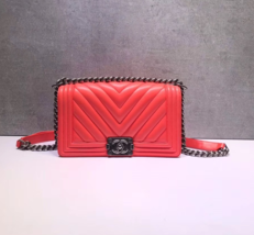 AUTHENTIC NEW CHANEL CORAL RED CHEVRON QUILTED CALFSKIN MEDIUM BOY FLAP BAG RHW