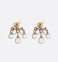 AUTH Christian Dior 2020 DIOR TRIBALES CRYSTAL DANGLE DROP PEARL EARRINGS