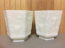 """(2) Anchor Hocking White Milk Glass Octagon Pedestal Planters~6.75"""" - $12.99"""