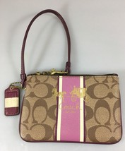 Coach Brown Signature Purple Coated Canvas Leather Accents Wristlet Hang Tag - $37.73