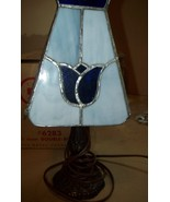 UNIQUE Vintage STAINED LEADED SLAG GLASS Lamp & Shade With Tulips! Blue ... - $49.00