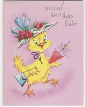 Vintage Easter Card Chick in Hat with Purse Umbrella Dreyfuss Gracious G... - $8.90