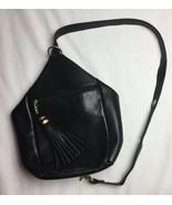 Tignanello Black Leather Bag Purse Big Tassel Pre Owned Very Nice - $46.74
