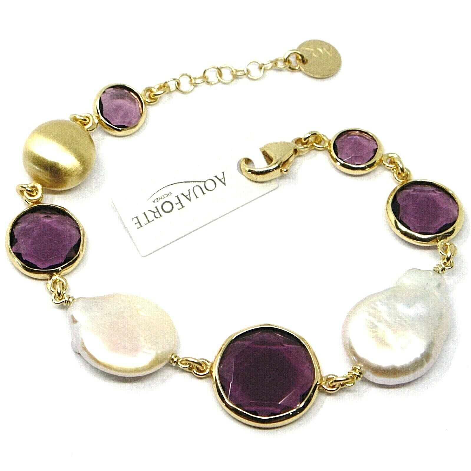 "925 STERLING SILVER YELLOW BRACELET 18cm, 7.1"" NUGGET, PURPLE GLASS PASTE PEARL"