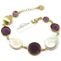 "925 STERLING SILVER YELLOW BRACELET 18cm, 7.1"" NUGGET, PURPLE GLASS PASTE PEARL image 1"