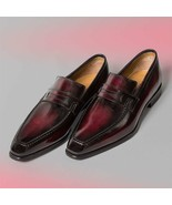 Handmade Leather Ox Blood Patina Classic Loafers for men, Custom men dre... - $187.57+