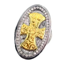 .925 Sterling Silver CROSS Ring Diamond Pave 14 K Gold Religious Fine Je... - $971.44
