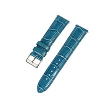 20mm Blue Croco Grain Leather Padded Stitched Leather Watch Band - Unise... - $14.24